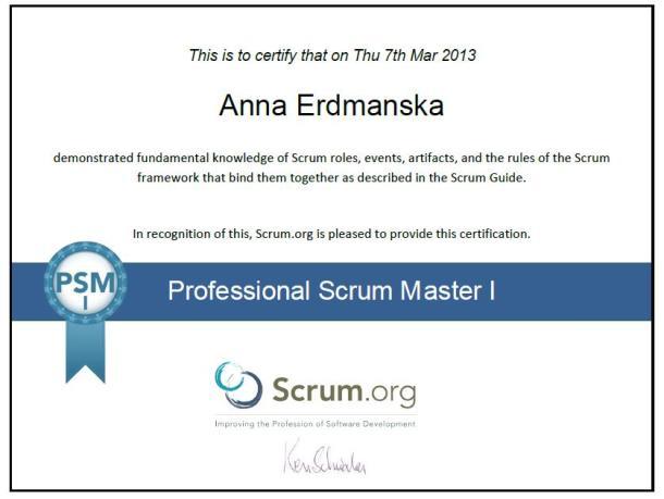 Certyfikat Proffessional Scrum Master I Anna Erdmańska
